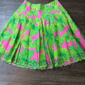 Lilly Pulitzer green pink Pleated eyelet hem skirt